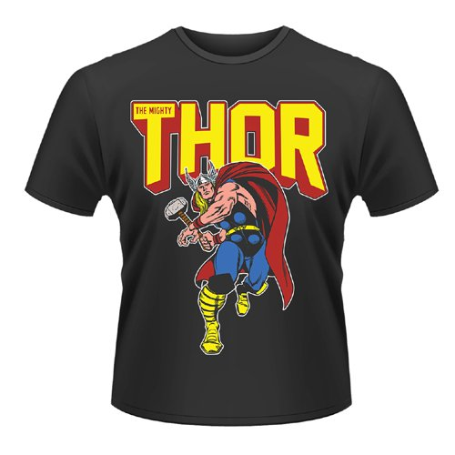 Playlogic International(World) Marvel Comics Thor Leap Camiseta Manga Corta, Negro, S para Hombre