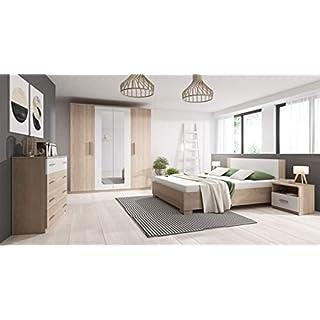 tendencio Chambre à Coucher complète Marco Bois et Blanc avec lit 160x200, Commode et 2 chevets
