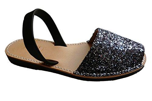 Sandales authentiques minorquines, différentes couleurs. Avarcas menorquínas. glitter Glitter plata negra