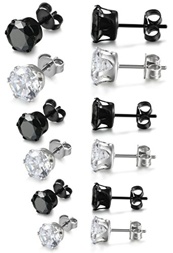 Jstyle Jewelry Stainless Steel Earring for Men Women Cubic Zirconia Earring Studs Pierced Unisex Sets 6 Pairs