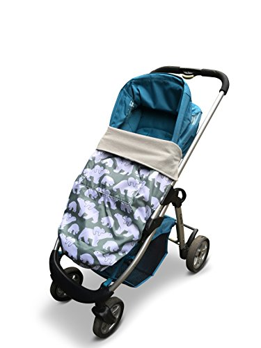 BundleBean GO - Fußsack für Kinderwagen & Autositze/Babytragen-Wetterschutz/Picknickdecke - wasserdicht (Grau-grüne Eisbären) (Kinderwagen Autositz Babytrage)