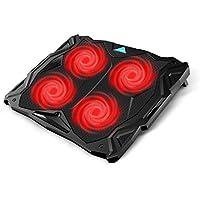 Tenswall Bases de Refrigeración para Portátiles y Netbooks, refrigerador Ordenador Portátil de 12-17 Pulgadas USB (4 ventiladores ultra silenciosos, iluminación LED roja, 2 x USB2.0), negro y rojo