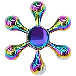 CRAZYCHIC® Hand Spinner - Toupie ARC EN CIEL multicolore en métal brillant - Rotation longue durée - Haute Qualité (6 Branches)