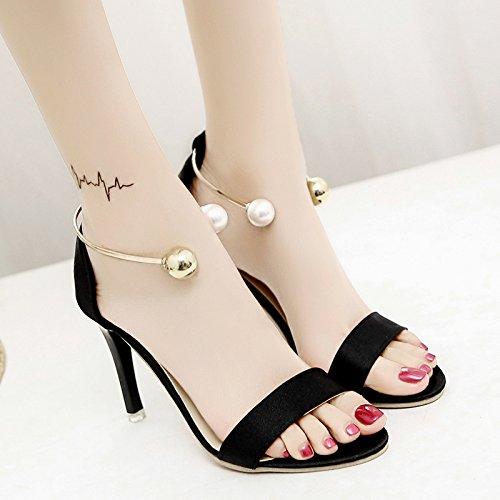 XY&GKSommer Tau Wort Soft Mädchen Sandalen für Frauen Sommer Studenten High Heel feine Ferse der chinesischen Frauen Sandalen, komfortabel und schön 35 black