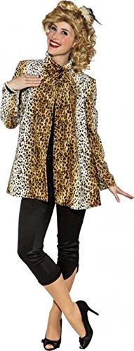 l Leo 50er Jahre Leopardenmuster Mantel 80er Kostüm Mantel (34/36) ()
