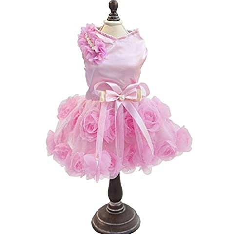PETCUTE Jupe de Perruque de Luxe Lady Chien Rose Robe Petite Veste Princess Princess Pour le Printemps été Rose