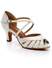 misu - Zapatillas de danza para mujer Plateado plata, color Dorado, talla 41.5