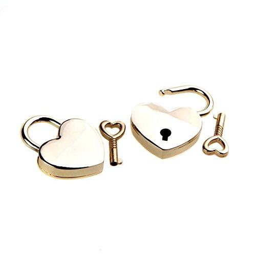 hugestore 2pcs Vintage Mini Corazón de metal candado y clave para F