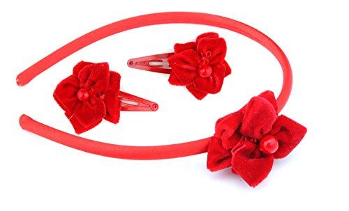 Zest de Noël Serre-tête satiné et toboggan en velours avec ensemble de fleur accessoire pour cheveux