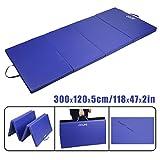 CCLIFE Tragbar Klappbar Gymnastikmatte Blau Weichbodenmatte Yogamatte Turnmatte Klappmatte Fitnessmatte Faltbar 300x120x5cm