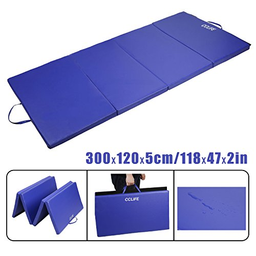 CCLIFE Tragbar Klappbar Gymnastikmatte Blau Weichbodenmatte Yogamatte Turnmatte Klappmatte...