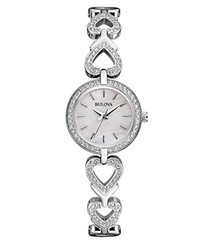 Bulova Ladies Women's Designer Crystal Watch & Necklace Gift Set - Stainless Steel Bracelet Wrist Watch 96X136