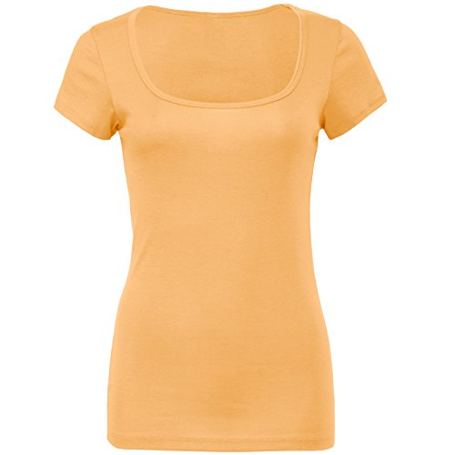 Schiere Mini Rippe Rundhalsausschnitt T-Shirt Orange Sorbet