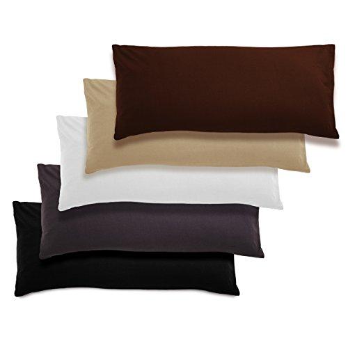 Doppelpack Kissenbezüge Kissenhülle 40x80 cm Braun Baumwolle ÖKO-TEX STANDARD Kissen-Bezug mit Reißverschluss (Kissenbezüge Standard Braun)
