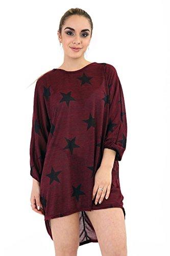 Universal Retail Trade -  Maglia a manica lunga  - Collo a U  - Donna Wine Star Print Batwing