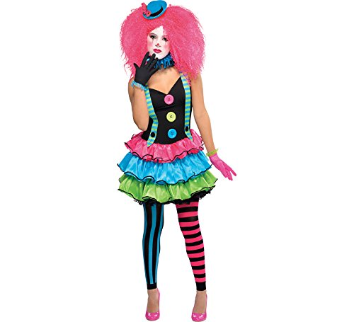 Circus Clown + Hat Girls Fancy Dress Halloween Carnival Teens Childrens - Clown Fancy Dress Kostüm