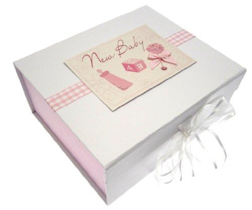 White Cotton Cards Erinnerungsschachtel für Baby A5(Pink Rassel)