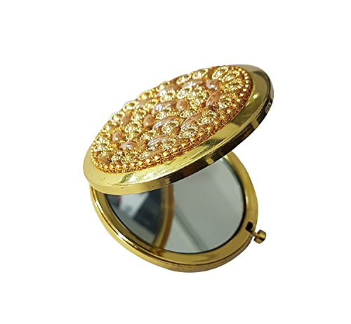 AASA Round Compact Mirror, Pocket Handbag Compact Cosmetic Makeup Mirror/Christmas Gifts For Women, Golden, 15Grams, Pack of 1