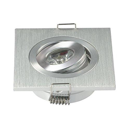 Packung mit 10 3W Mini Einbauleuchten Einbauleuchte Kit quadratisch verstellbare Schrankleuchten kalt weiss + Fahrer (Quadratische Einbauleuchten)