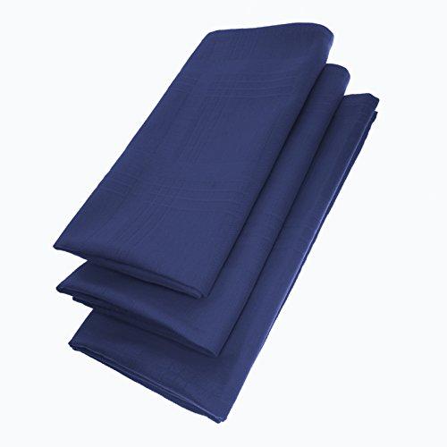 3er Pack Servietten 44cm x 44cm aus 100% Baumwolle in Blau (Gesäumt Spitze)