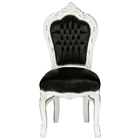 Baroque chaise Simili Cuir Noir Blanc Cuir