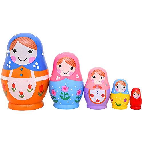 5Pcs Handgemachte Hölzerne Russische Verschachtelungs-Puppen-Kinder Geschenk-Spielwaren, Die Puppe Satz Von 5, Matryoshka Niedliches Kleines Mädchen, Halloween-Geburtstags-Inneneinrichtung Stapeln