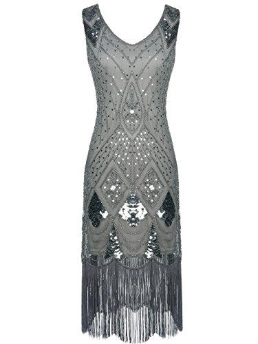 FAIRY COUPLE 1920er Gatsby Pailletten verziert Quasten Saum Flapper Kleid D20S014 (M, Grau)