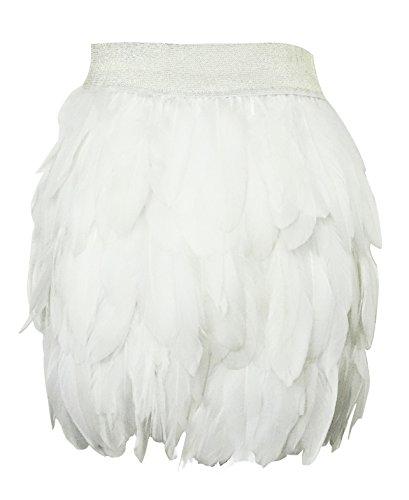 keland Damen Echte natürliche Feder Mitte Taille Mini A-Linie Rock (Weiß, - Weiße Feder Rock Kostüm