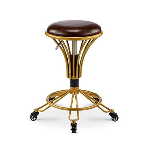 Barhocker Vintage hohe stühle Retro Eisen Modernes minimalistisches Cafe Gold Antikes Kupfer Hoher Hocker Metallhocker (Color : C) (Antik Friseur Stühle)