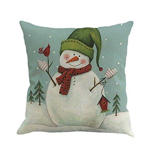 Federe cuscini,fittingran pupazzo di neve di natale stampato federa di lino natale stampa tintura divano letto home decor cuscino copri cuscino (a)