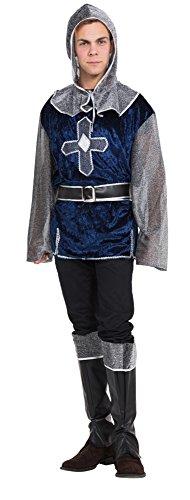 Bristol Novelty AC351A Mittelalterlicher Ritter Kostüm, blau, UK Chest Size 46