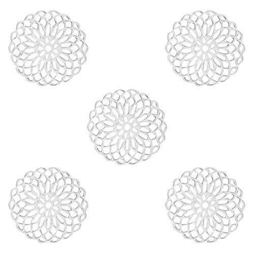 Sadingo Metall Schmuckverbinder Mandala, Anhänger Silber dünn und leicht, 15 mm, Schmuck basteln, DIY Armband, Ohrringe