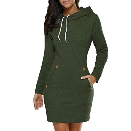 Robe Femme, DoraMe Femmes Mini robe Sweat à capuche Manche longue Chandails à capuchon Sauteur (XXL, Vert d'armée)