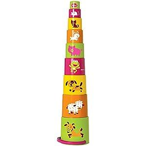 Gowi 453-16  Pyramid Deluxe - Juegos de Piezas de Colores de construcción piramidal (9 Piezas)
