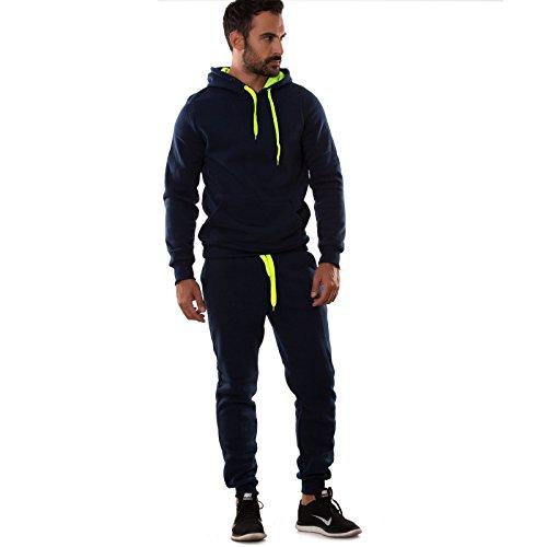 Toocool - Tuta UOMO felpa pantaloni fitness palestra cappuccio tasche sport nuova S6603 BLU FELPATO
