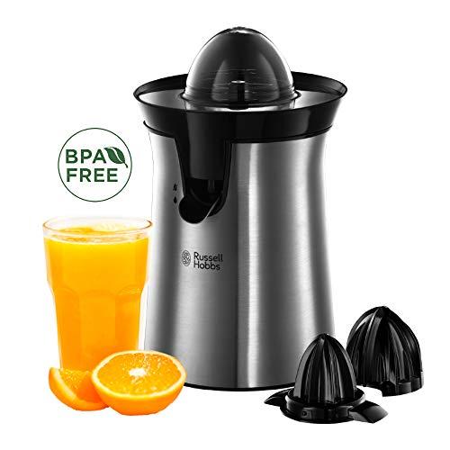 Russell Hobbs Organgenpresse & Citruspresse (2 autom. links-& rechtsrotierende Presskegel für Zitronen/Orangen), Tropf-Stopp-Funktion, spülmaschinenfest, BPA-frei, Zitruspresse elektrisch 22760-56