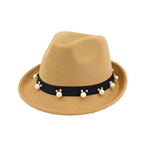 Mode Breite Flache Krempe Wollfilz Jazz Hut Nette Perlen Curling Zylinder Woll Western Cowboy Hut Floppy Hut für Männer Frauen Hut (Farbe : Camel) Justin Womens Hut