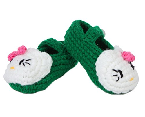 Bigood(TM) 1 Paar Strickschuh One Size Strick Schuh Baby Unisex süße Muster 11cm Blüte Pink A Dunkelgrün C