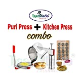 Trackindia Combo of Stainless Steel Kitchen Press & Stainless Steel Puri Press, Chapati Press