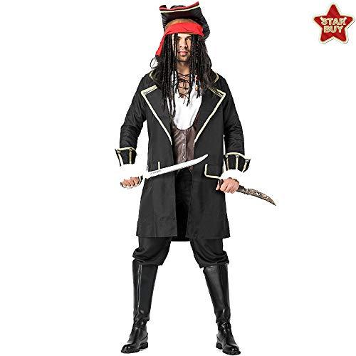 COSOER Jack Captain Cosplay Kostüm Männliche Piraten Performance Bühnenkleidung Für Halloween Kostüme Party,Redheadscarf-M (Paare Kostüm Beängstigend)