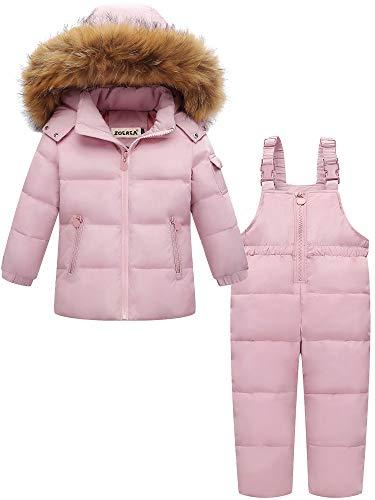 ZOEREA 2 Piezas Traje de Nieve Niños Abrigos Chaqueta con Capucha + Pantalones Niña Niño Ropa de Invierno Set Rosado, Etiqueta 120