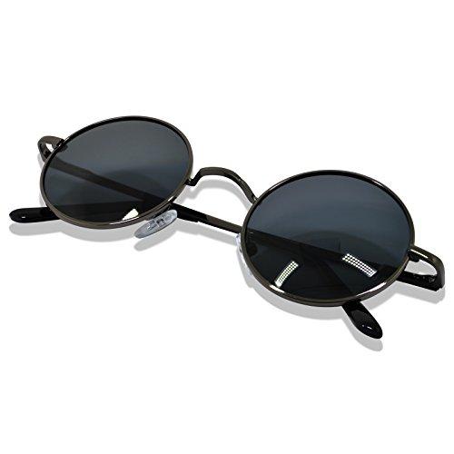 WHCREAT Uralt Retro Unisex Rund Polarisierte Sonnenbrille Federscharnier Metall Rahmen UV 400 Schutz für Männer Frauen - Metallisch Grau Rahmen Schwarz Linse