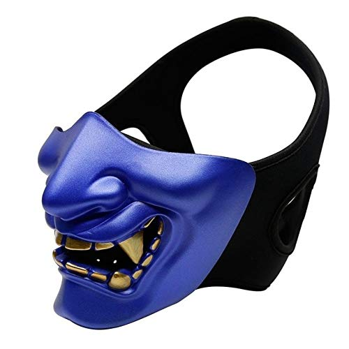 Samurai Kostüm Blue - Halbes Gesicht Airsoft Maske Halloween Kostüm Cosplay BB Evil Demon Monster Kabuki Samurai Hannya Oni Halbe AbdeckungPrajna Masken, Blau
