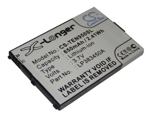 vhbw Li-Ion Akku 650mAh (3.7V) für Smartphone, Telefon, Senioren Handy Telefunken Eurofon T95 wie LP383450A.