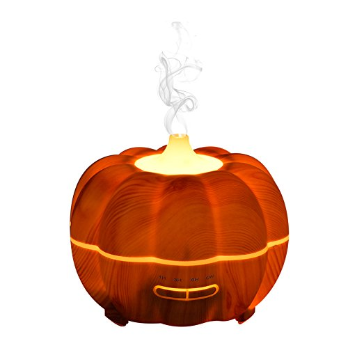 Halloween Aroma Diffuser 300ml Öl Diffusor Holzmaserung luftbefeuchter mit 2 Fraben LED Farbenwechselnde elektrisch Duftlampe für Beauty-Salon, SPA, Yoga, Schlafzimmer, Wohnzimmer, Konferenzraum