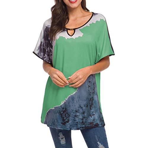 VECDY Frauen T Shirt Mädchen Oansatz Casual Bat Kurzarm Print Tops Bluse Sweatshirt Modus Pullover Tops 4 Farben S-3XL