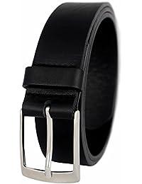 PREMIUM Ledergürtel für Herren aus 100% Echt-Leder in schwarz, braun, cognac und blau - Herrengürtel - Gürtel 3,5 cm breit - Anzuggürtel - Leder Gürtel - Vollrindledergürtel - Guertel - Businessgürtel