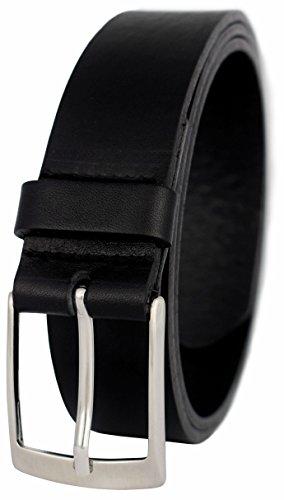 GREEN YARD Vollledergürtel aus 100% Rindleder für Herren 3,5cm Breite, Gr.-85 cm Bundweite = 100 cm Gesamtlänge, Schwarz