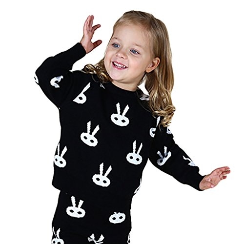 YOUJIA Strick Pullover Für Baby Unisex Netten Kaninchen Muster Kinderpullover (Tops,90CM)