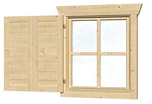 SKAN HOLZ 699131 Fensterläden für Einzelfenster Gartenhäuser - Zubehör, natur, 2.5 x 57.5 x 70.5...